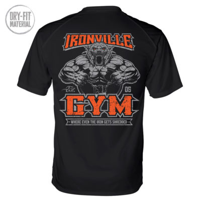 Ironville Gym Tiger Where Even The Iron Gets Shredded Bodybuilding Dri Fit T Shirt Black
