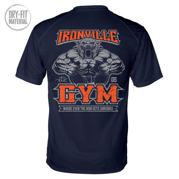 Ironville Gym Tiger Where Even The Iron Gets Shredded Bodybuilding Dri Fit T Shirt Navy Blue