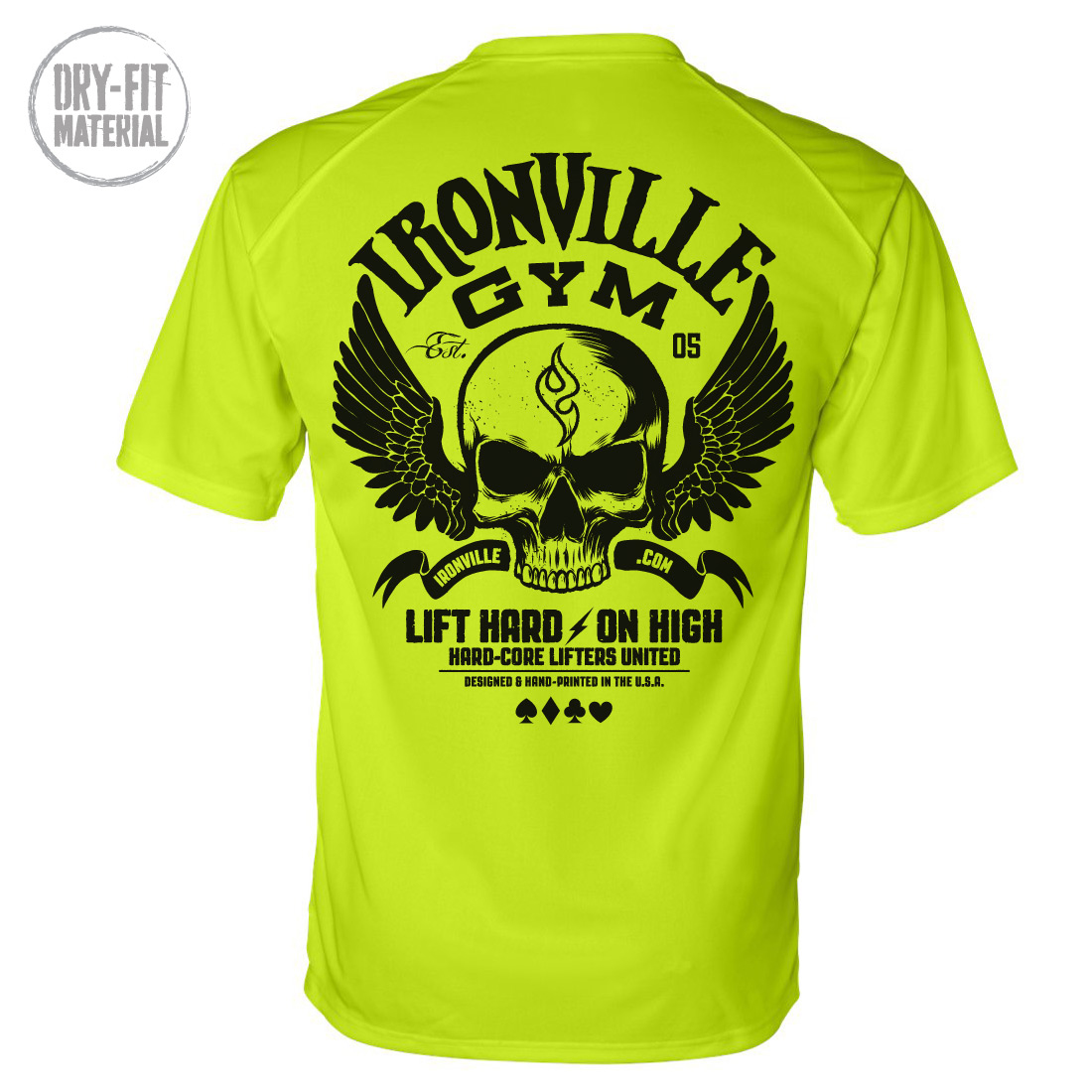 Ironville Gym Wings On High Skull Powerlifting Dri-Fit T-Shirt