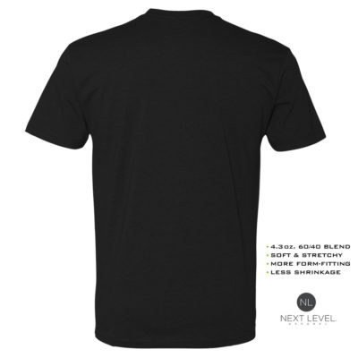 Ironville Soft Blend Next Level Fitted T Shirt Blank Black Back