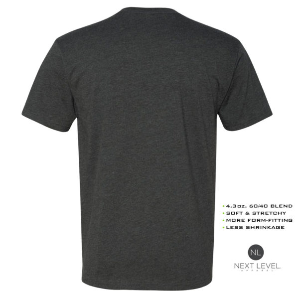 Ironville Soft Blend Next Level Fitted T Shirt Blank Charcoal Back