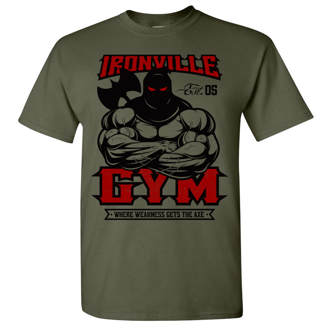 Ironville gym executioner axe powerlifting t shirt for Gym shirt t shirt