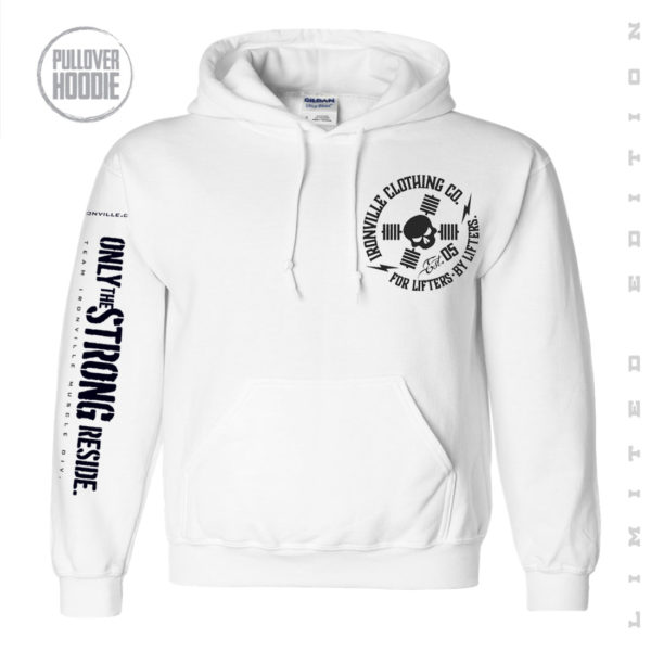 Ironville Gym Executioner Limited Edition Pullover Hoodie Circle Logo Front White
