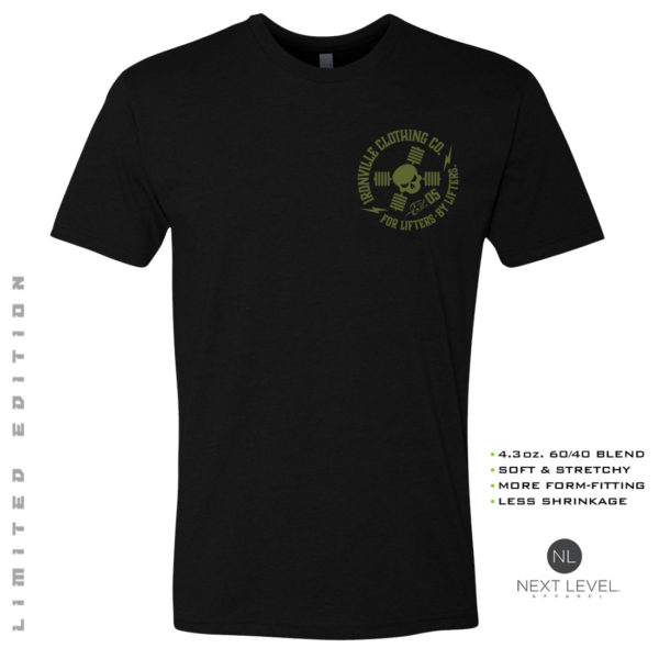 Ironville Soft Blend Next Level Fitted T Shirt Military Green Skull Logo Black Front