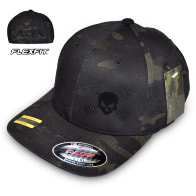 Skull And Barbells Weightlifting Hat Flexfit Curved Bill Multi Camo Black Skull