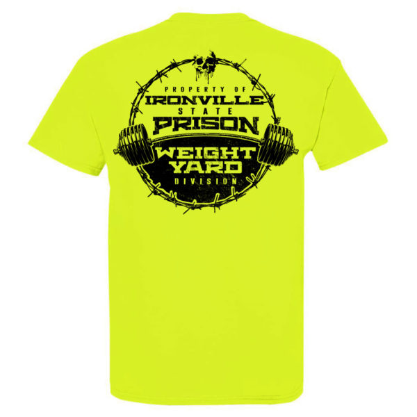 Department Of Corrections Ironville State Prison Weight Yard Gym T Shirt Neon Yellow Back