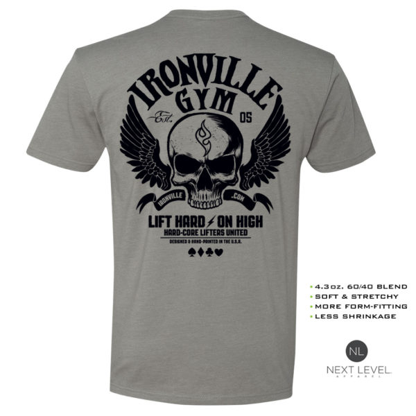 Ironville Gym Wings Soft Blend Fitted Powerlifting T Shirt Stone Gray With Black Back Art
