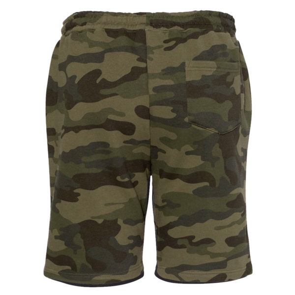 Ironville Gym Fleece Sweat Shorts Green Camo Blank Back