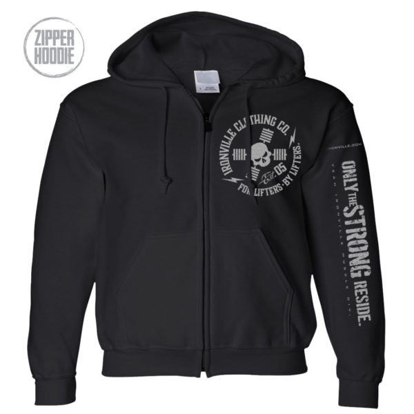 Ironville Zipper Hoodie Full Circle Logo Front Black 2020