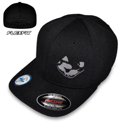Weightlifting Flexing Bicep Hat Flexfit Cool Dry Black With Silver Gray